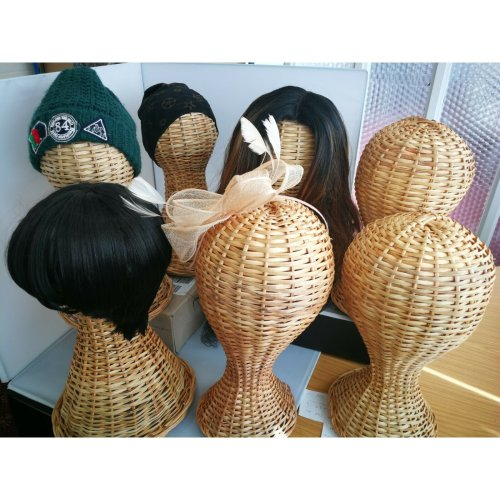 Eco Friendly Fair Trade Wig, Hat Display Stand Mannequin Head Rattan Wicker
