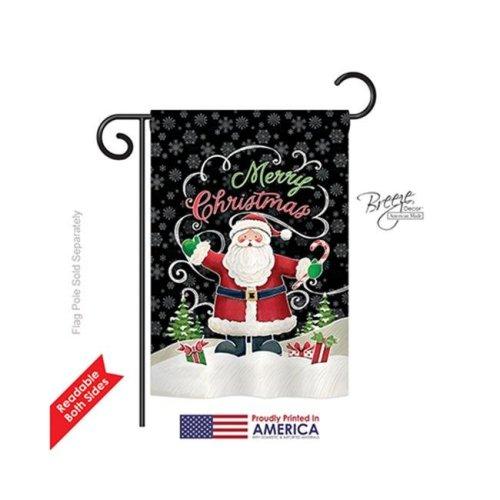 Breeze Decor 64116 Christmas Candy Cane Santa 2-Sided Impression Garden Flag - 13 x 18.5 in.