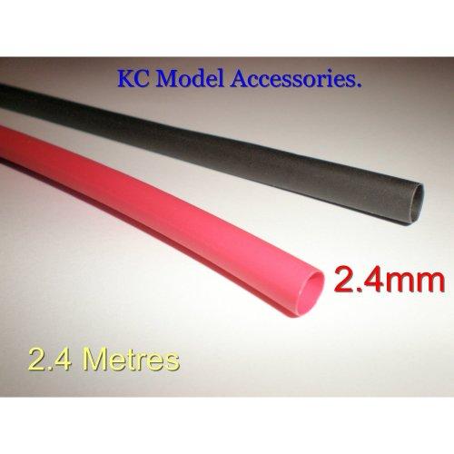 Heat Shrink Tubing Sleeve Wrap Black & Red 2.4mm x 2.4 metres Total