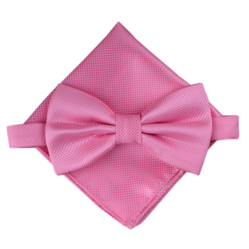 Stylish Wedding Bow Tie Pocket Square Pocket Cloth Handkerchief Pink