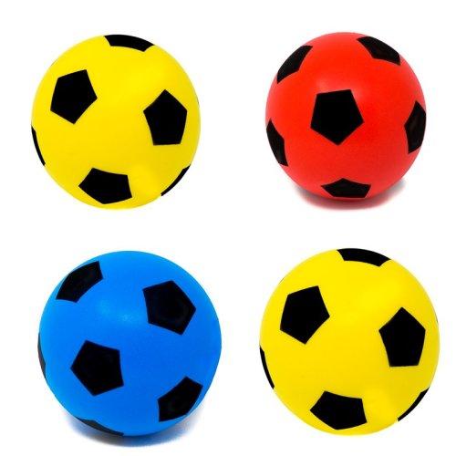 E-Deals 20cm Soft Foam Football - Pack of 1 Blue + 1 Red + 2 Yellow