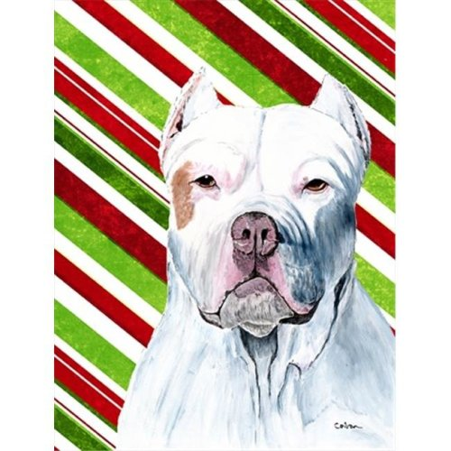 Carolines Treasures SC9341GF Pit Bull Candy Cane Holiday Christmas Flag - Garden Size, 11 x 15 in.