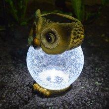 Solalite Solar Powered Novelty Owl With Crackle Glass Ball Globe Light Garden