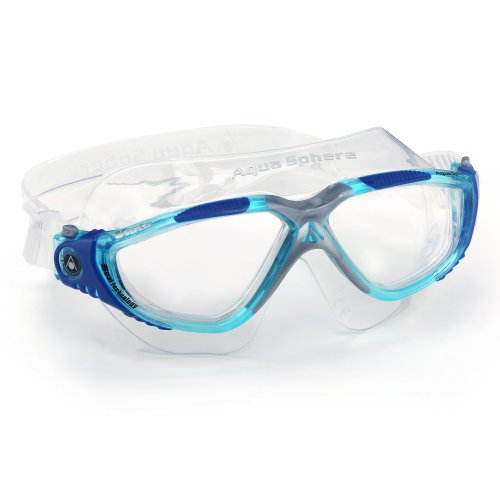 Aqua Sphere Unisex Adult Vista Open Water Swimming Mask, Aqua/Silver/Clear Lens, Regular