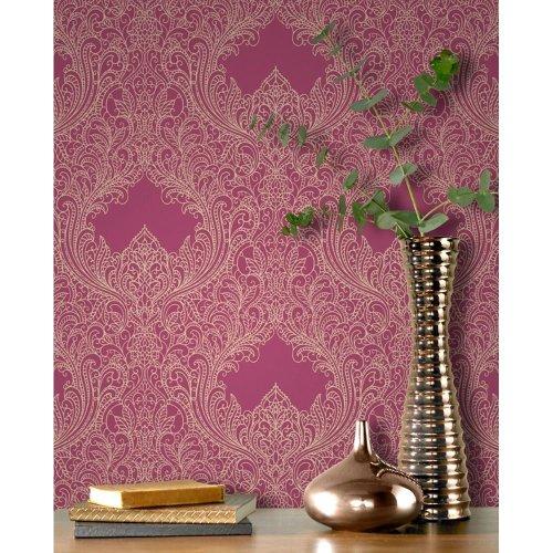 Rasch Damask Pattern Wallpaper Floral Leaf Motif Embossed Metallic Glitter 308525