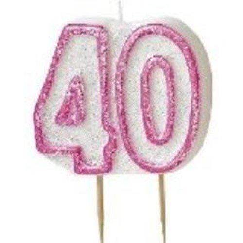 Age 40 Birthday Candle Pink Glitz