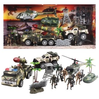deAO Toys 33pc Army Playset | Children's Military Action Figures Set