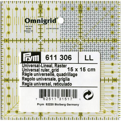 Omnigrid Metric Ruler W/Grid 15cmX15cm-