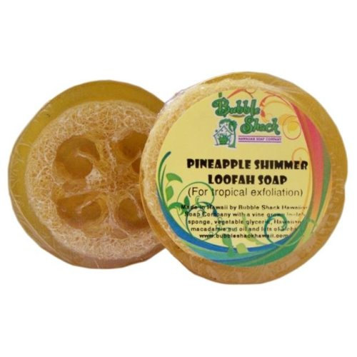 Bubble Shack Hawaii 492773500410 Pineapple Shimmer Loofah Soap - Pack of 2