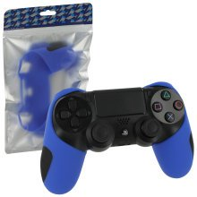 ZedLabz SG-1 silicone rubber grip cover case skin for Sony PS4 controllers - blue