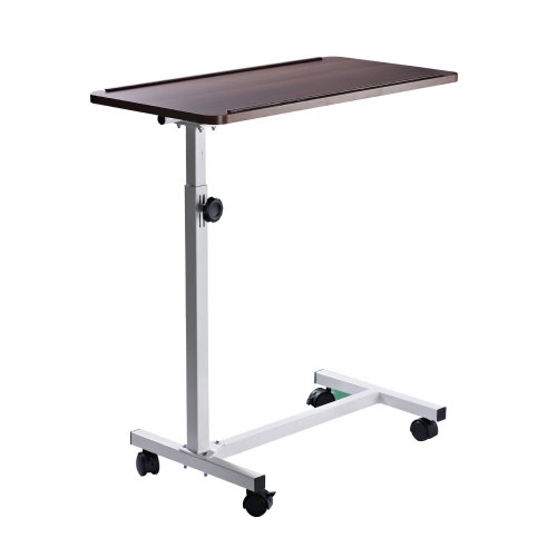 HOMCOM Multipurpose Mobile Overbed Chair Table Sofa Side Notebook Laptop Desk PC Stand Height Adjustable with Lockable 4 Castors & Wooden Top