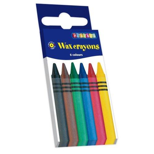 Pbx2470501 - Playbox - Wax Crayons (thin) - 88 Mm, Ï 8 Mm - 6 Pcs