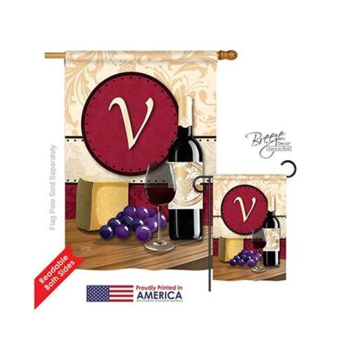 Breeze Decor 30230 Wine V Monogram 2-Sided Vertical Impression House Flag - 28 x 40 in.