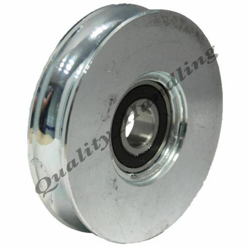 pulley wheel, 100mm Round groove steel wheel R U-shape 20mm bar 1BB