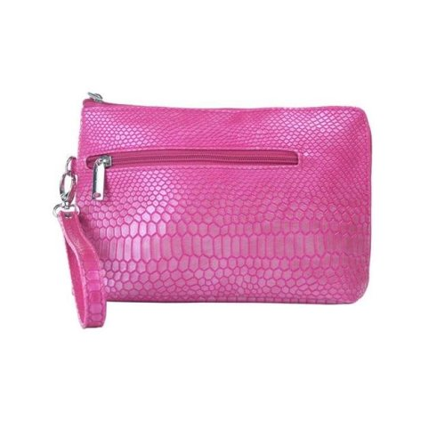 Picnic Gift 7366-PK French 75-Daily Essentials Cosmetics Bags with Removable Wristlet, Pink Reptilian