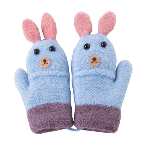 Kids Winter Warm Mittens with String Plush-lined Cartoon Gloves, #14