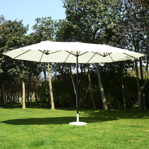 Outsunny Cream Double Garden Parasol | Outdoor Sun Umbrella 4m x 2m