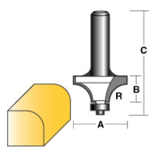 "CARBITOOL ROUND OVER ROUTER BIT 1/2"" W/BEARING 1/4"" SHANK"