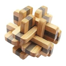 2 PCS Challenging Wood Brain Teaser Puzzle Disentanglement Puzzles, Style 17