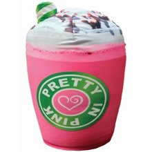 "iscream Sugar-riffic! Pretty in Pink Frappe Shaped 16"" x 11.5"" Photoreal Microbead Pillow"