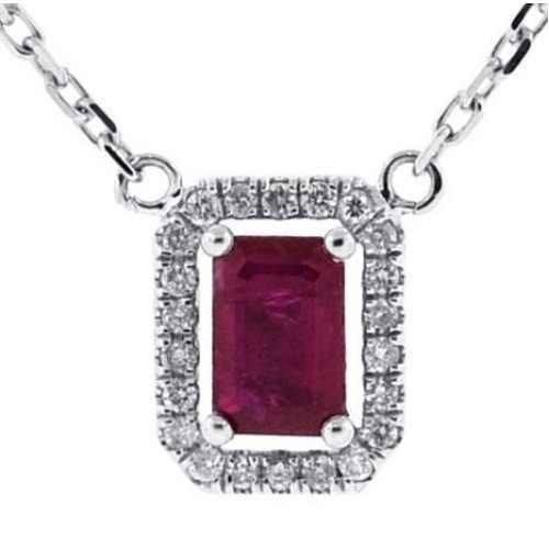 White Gold 14K 5.50 Carats Prong Setting Red Ruby With Diamonds Pendant Necklace