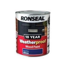 Ronseal 10Year Weatherproof Exterior Wood Paint Royal Blue Gloss 750ml