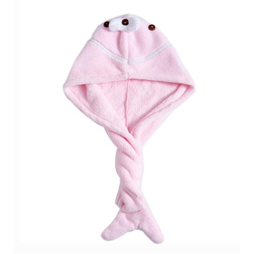 Cute Microfiber Hair Drying Towel Hair Turban for Long Hair Absorbent Water, Pink