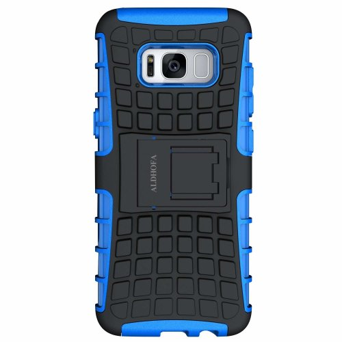 premium selection bc46a 69bc5 Samsung Galaxy S8 Case,ALDHOFA Heavy Duty Rugged Armor Hybrid Shockproof  Protective Phone Case Cover With Stand for Samsung Galaxy S8 (Blue)