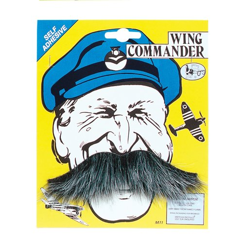Wing Commander (self Adhesive) -  moustache wing commander squadron leader fancy dress tash WING COMMANDER TASH MOUSTACHE FANCY DRESS GREY STICK ON