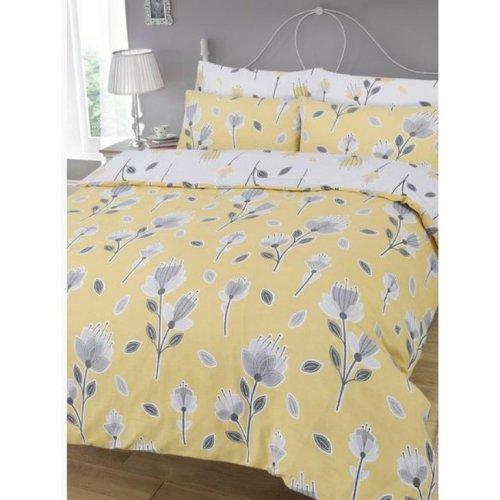 Geo Lemon Yellow Grey Floral Flower Reversable Duvet Set