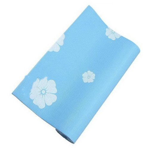 Rubber Yoga Mat Eco Print Yoga Exercise Mat 6mm (Blue)+ Mesh Bag