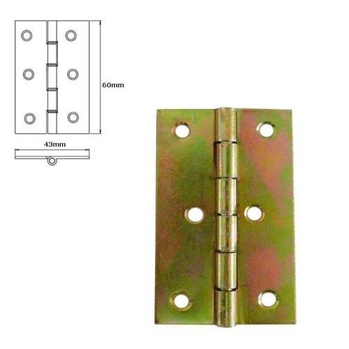 20 Pcs Folding Closet Cabinet Door Butt Hinge Brass Plated 60x43mm