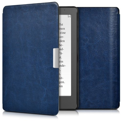 kwmobile Case for Kobo Aura Edition 2 - Book Style PU Leather Protective e-Reader Cover Folio Case - Dark Blue