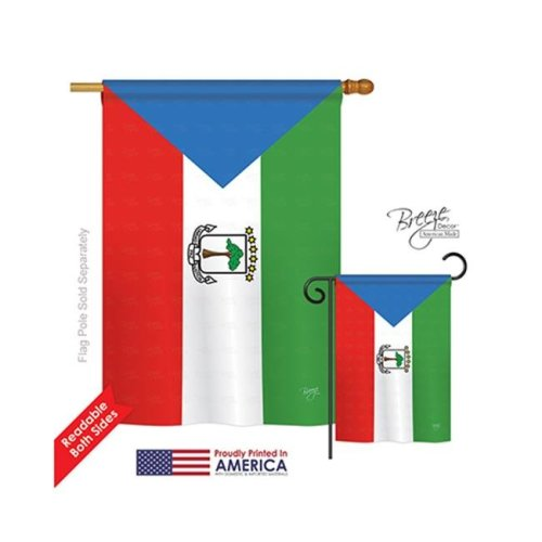 Breeze Decor 08305 Equatorial Guinea 2-Sided Vertical Impression House Flag - 28 x 40 in.