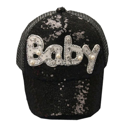Korean Wave Kids Baseball Cap Hip-Hop Hat Embroidered BABY 3-8 Years(Black)