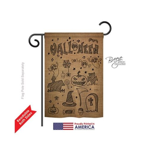 Breeze Decor 62061 Halloween Halloween Doodles 2-Sided Impression Garden Flag - 13 x 18.5 in.