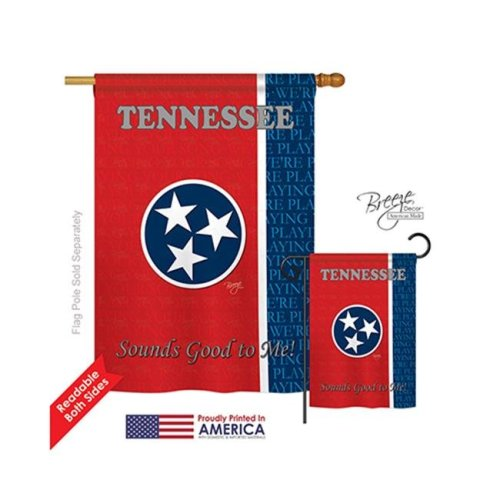 Breeze Decor 08130 States Tennessee 2-Sided Vertical Impression House Flag - 28 x 40 in.
