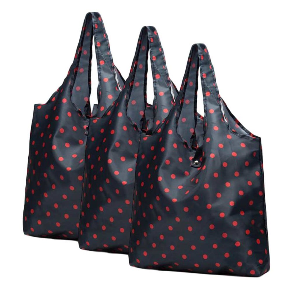 Red Dots - 3 Pieces Reusable Grocery Bags Foldable Boutique Shopping Bags  Portable Merchandise Tote Bags Gift Bags