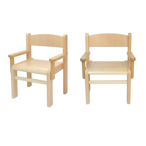 Childrens Furniture Beech Wood 2 Childrens Chairs w/ Armrests, Natural