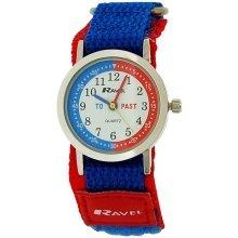 Ravel Time Teacher Boys Blue / Red Velcro Nylon Strap Watch + Telling Time Award