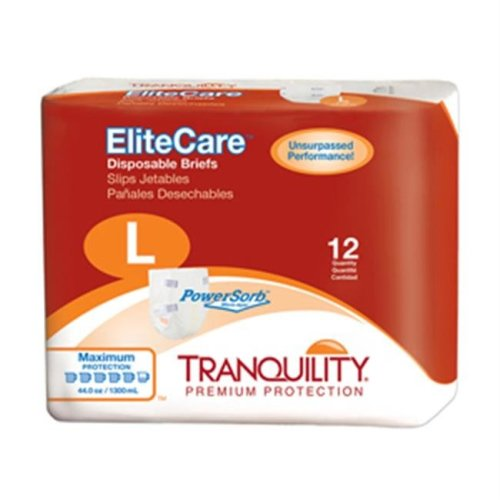 Tranquility EliteCare Disposable Briefs, Large - 48 per Case