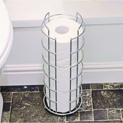 9cf1deec720551 Chrome Toilet Roll Holder Stand Free Standing Holds Extra Tissue on OnBuy