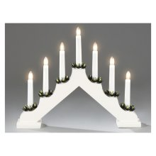 Xmas Static Indoor White wooden 7 lights CANDLE ARCH / CANDLELIER/ bridge