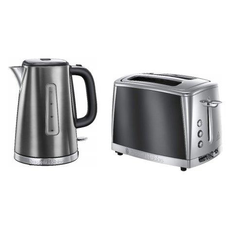 Russell Hobbs LUNA Grey 1.7L 3kW Jug Kettle & Luna 2 Slice Toaster Set