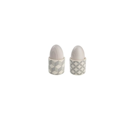 T&G City Ceramics Egg Cup Grey White in Cube Design x 4