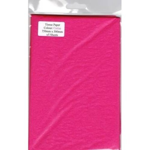 5 Sheets Of Cerise Tissue Paper 750mm x 500mm