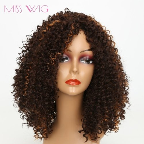 Dark Brown African Kinky Curly Short Wigs For  300g Afro Hair Synthetic Wigs