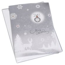 Christmas Cards Greeting Cards Christmas Gift Xmas Cards (4 Cards and Envelopes), Silver # 14