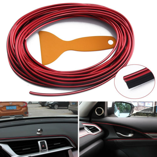 Red 10M Perfect Car Styling Strips Trim Interior Door Sticker Moulding Line