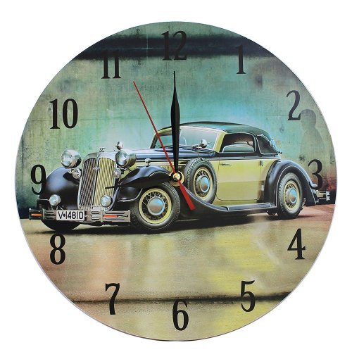 Home Decoration MDF Nostalgic Retro Green Car Scene 28 cm Wall Clock